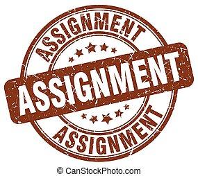 assignment brown grunge round vintage rubber stamp