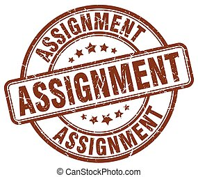 assignment brown grunge round vintage rubber stamp