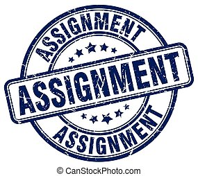 assignment blue grunge round vintage rubber stamp