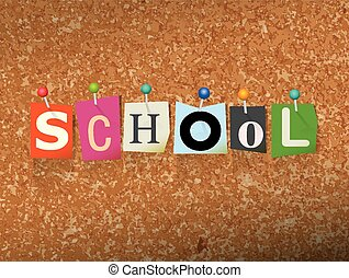 School Concept Pinned Letters Illustration - The word SCHOOL...