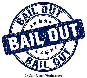 bail out blue grunge round vintage rubber stamp