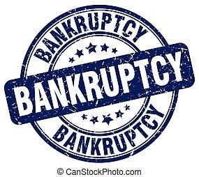 bankruptcy blue grunge round vintage rubber stamp