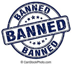 banned blue grunge round vintage rubber stamp