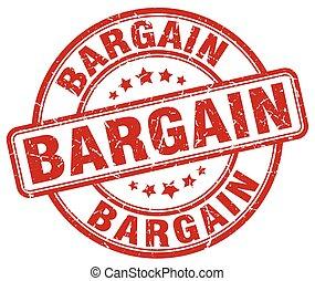 bargain red grunge round vintage rubber stamp