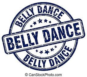 belly dance blue grunge round vintage rubber stamp