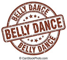 belly dance brown grunge round vintage rubber stamp
