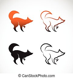 Vector image of an fox design on white background, Logo,...
