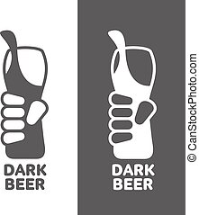 Set beer logos, simple gray labels - hand holding a glass of...