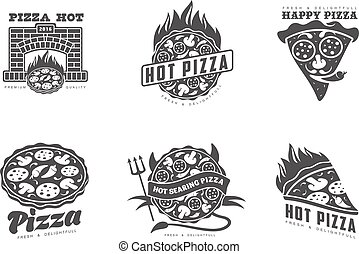 set of monochrome pizza logos
