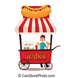 Street stall with hot dogs - Street vendor course dogs,...