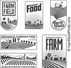 Farmers with fields badges - Farm field labels set of vector...