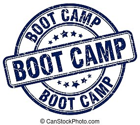 boot camp blue grunge round vintage rubber stamp