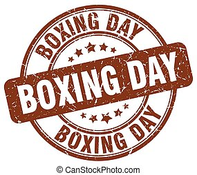 boxing day brown grunge round vintage rubber stamp