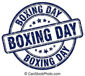 boxing day blue grunge round vintage rubber stamp
