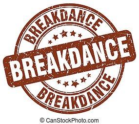 breakdance brown grunge round vintage rubber stamp