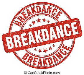breakdance red grunge round vintage rubber stamp