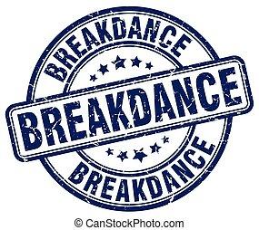 breakdance blue grunge round vintage rubber stamp