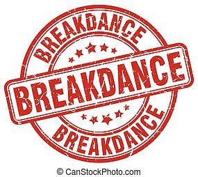 breakdance red grunge round vintage rubber stamp