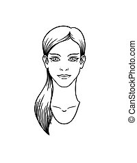 Casual girl with long hair tail. Vector.
