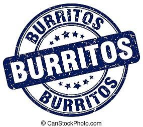 burritos blue grunge round vintage rubber stamp