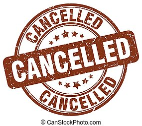 cancelled brown grunge round vintage rubber stamp