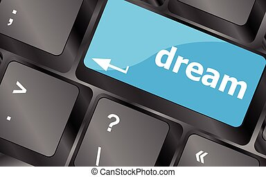 dream button showing concept of idea, creativity and...