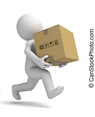 Courier and cardboard boxes - 3d small people carrying a...