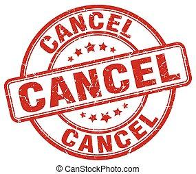 cancel red grunge round vintage rubber stamp