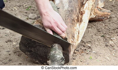 Man cutting wood with a hand saw - Man cutting dried branch...