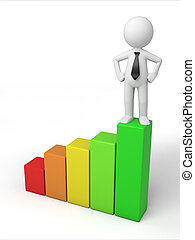 growth - 3d small person on a chart. 3d image. Isolated...