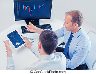 businessmen with notebook and tablet pc - business, money...