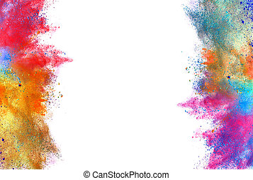 Explosion of colored powder on white background - Explosion...