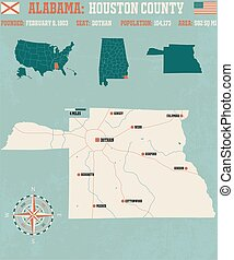 Houston County in Alabama USA - Large and detailed map and...