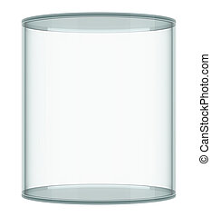 Empty glass showcase on white background 3D rendering