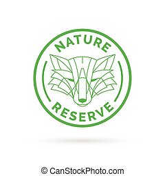 Wildlife park nature reserve icon emblem with wild fox symbol stamp.