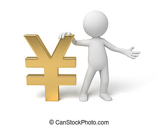 Yen currency symbol - A small person with a Yen currency...