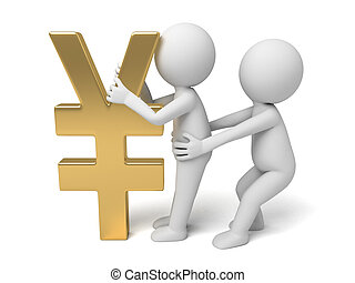 Yen currency symbol - two small person with a Yen currency...