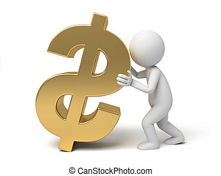 Dollar currency symbol - A small person with a dollar...