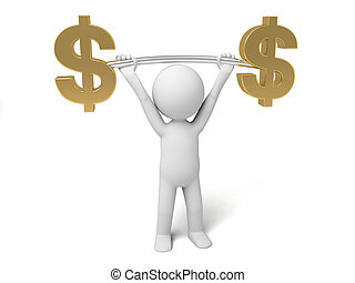 dollar currency symbol - A small person lift a dollar...