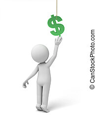 dollar currency symbol - A small person with a green dollar...