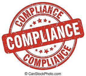 compliance red grunge round vintage rubber stamp