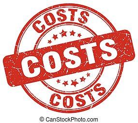 costs red grunge round vintage rubber stamp