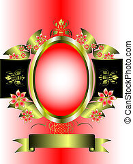 A gold floral frame on a pink graduated background - a gold...