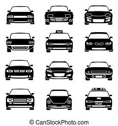 Cars in front view black vector icons
