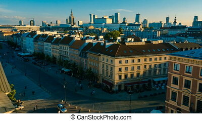 Timelapse of City Buildings in Wars - WARSAW, POLAND - 09...