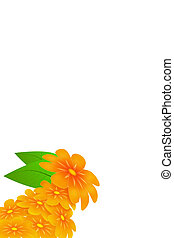 yellow flowers illustration with green leafs isolated on...