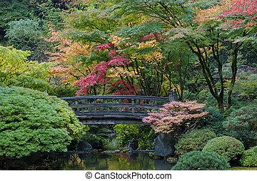 Wooden bridge, Japanese Garden, Portland, Oregon - Autumn in...