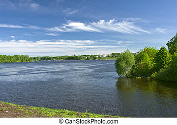 river landscape - landscape with green shore front and sky,...