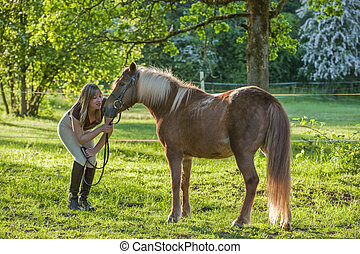 Woman and Shetland pony - Woman bonding and being...