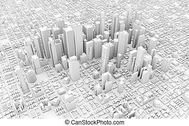 business city - 3d downtown white business downtown